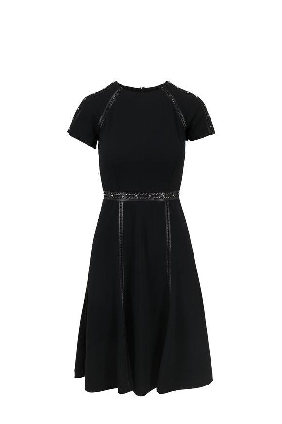 Jonathan Simkhai Black Pearl Trim Short Sleeve Fit & Flare Dress