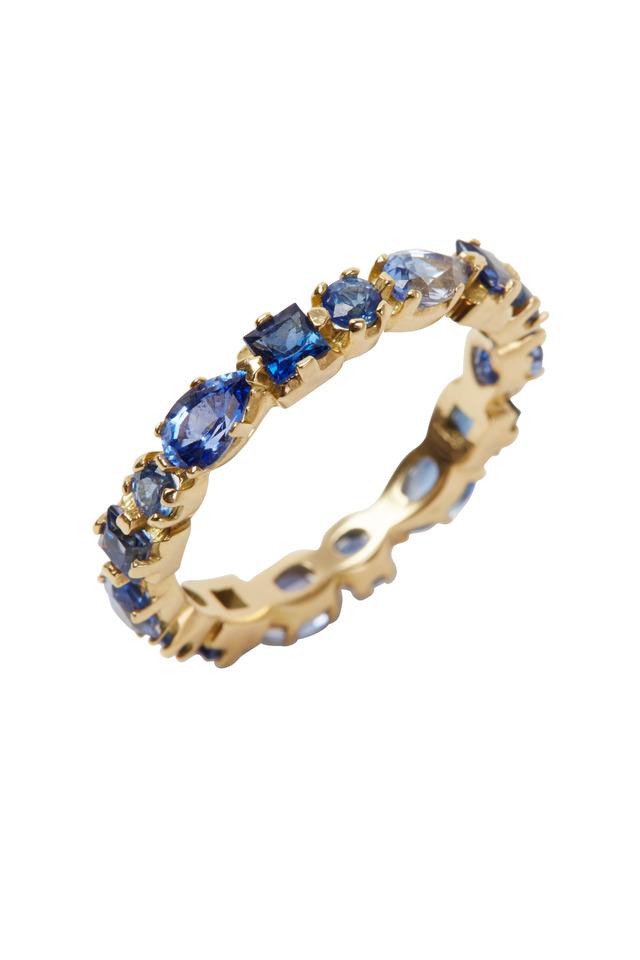 Yellow Gold Blue Sapphire Ruffle Band