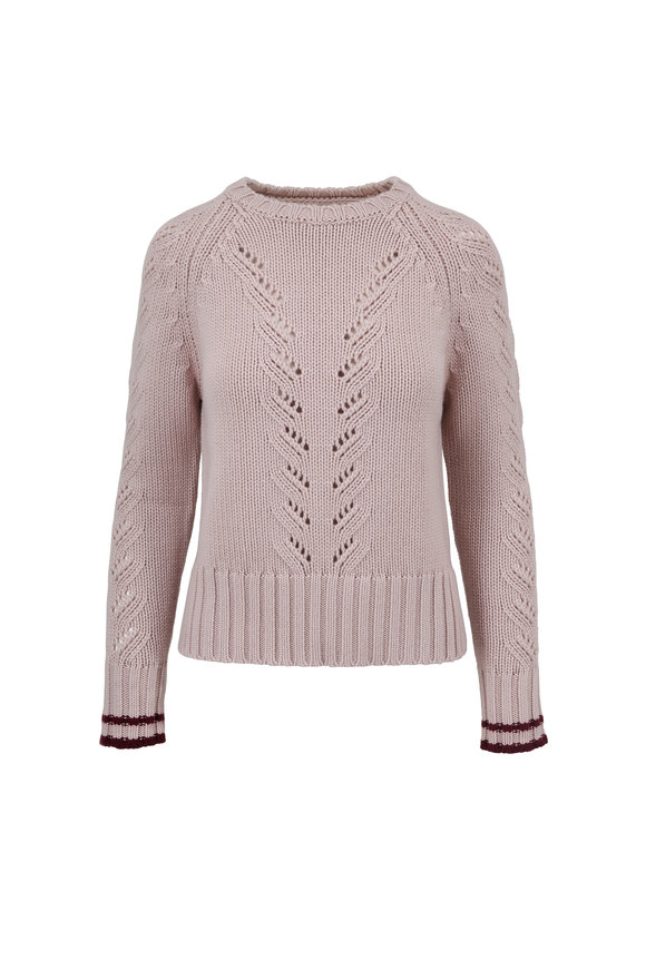 Chinti & Parker Powder Velvet Light Pink Cashmere Sweater