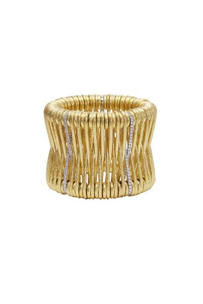 Kathleen Dughi - Yellow Gold Spring Cuff Diamond Bracelet