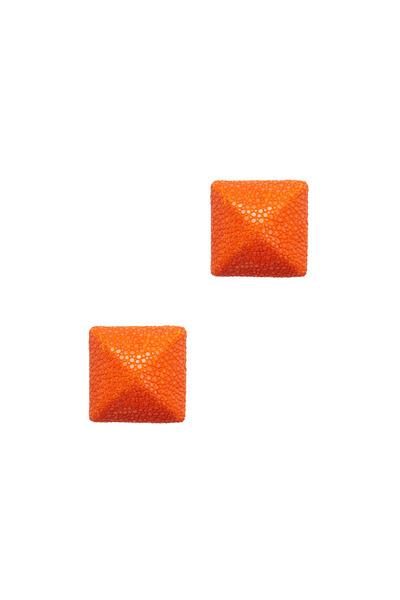 Kathleen Dughi - Raya Tangerine Button Stud Earrings