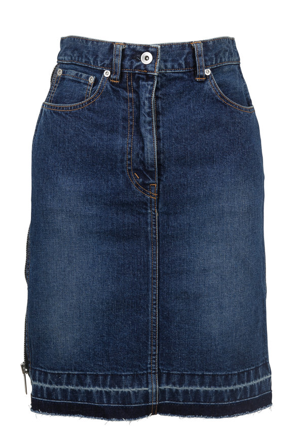 Sacai Blue Denim Ruffled-Side Zip Skirt