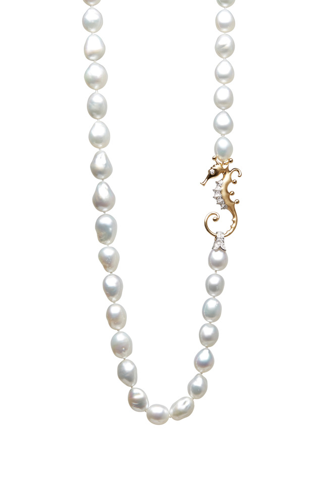 Platinum & Gold Pearl Diamond Seahorse Necklace