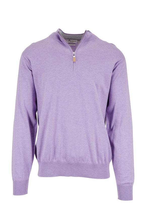 Peter Millar Purple Cotton & Silk Quarter-Zip Pullover