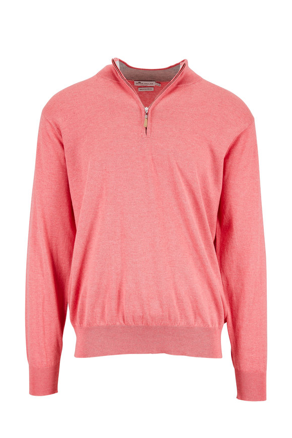 Peter Millar Pink Cotton & Silk Quarter-Zip Pullover