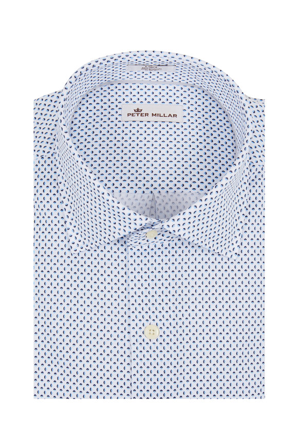 Peter Millar Crown White Ocean Mist Printed Sport Shirt