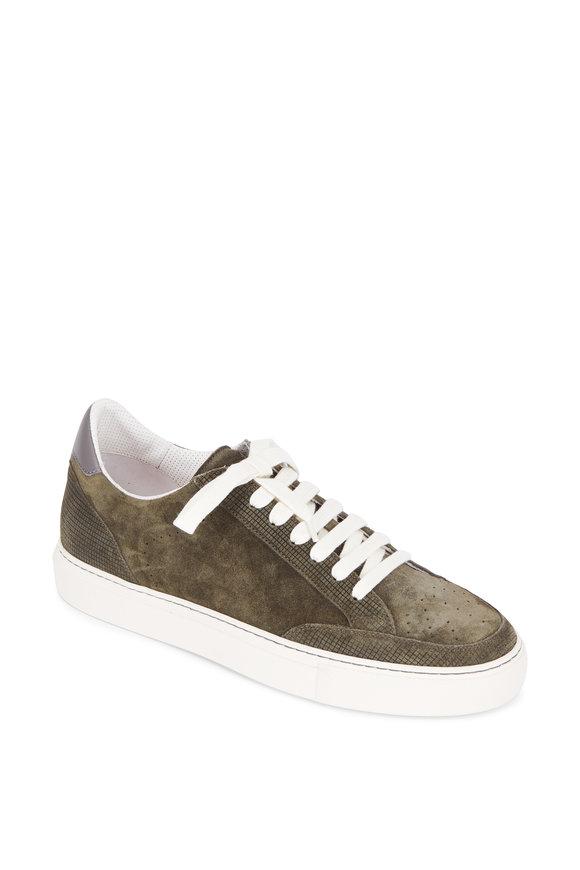 Brunello Cucinelli Olive Green Suede Sneaker