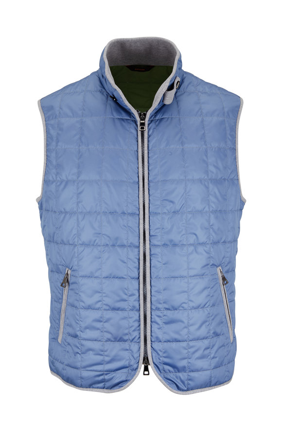 Waterville Light Blue Box Quilted Nylon Vest