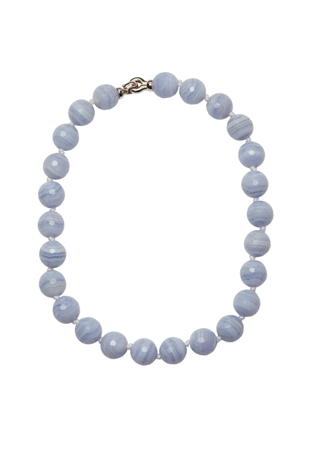 White Gold Blue Lace Agate Bead Necklace