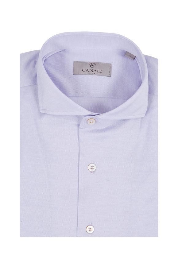 Canali Lavender Solid Knit Sport Shirt