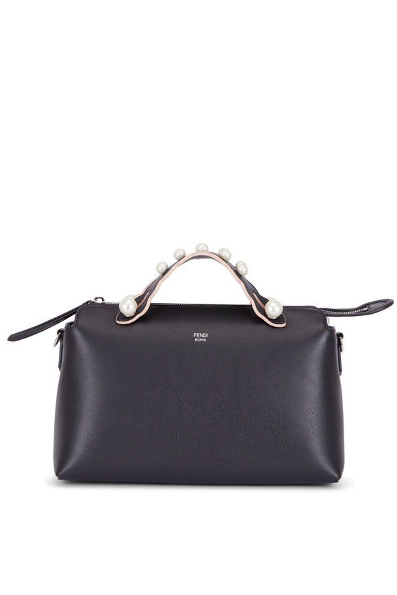 Fendi By The Way Black Leather Pearl Handle Boston Bag