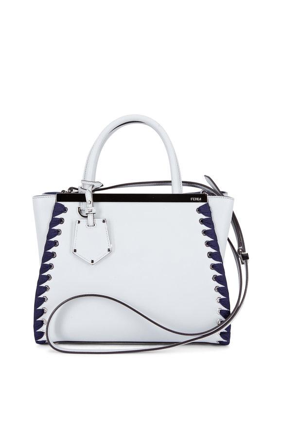 Fendi 2 Jours Light Gray & Navy Lace-Up Small Bag