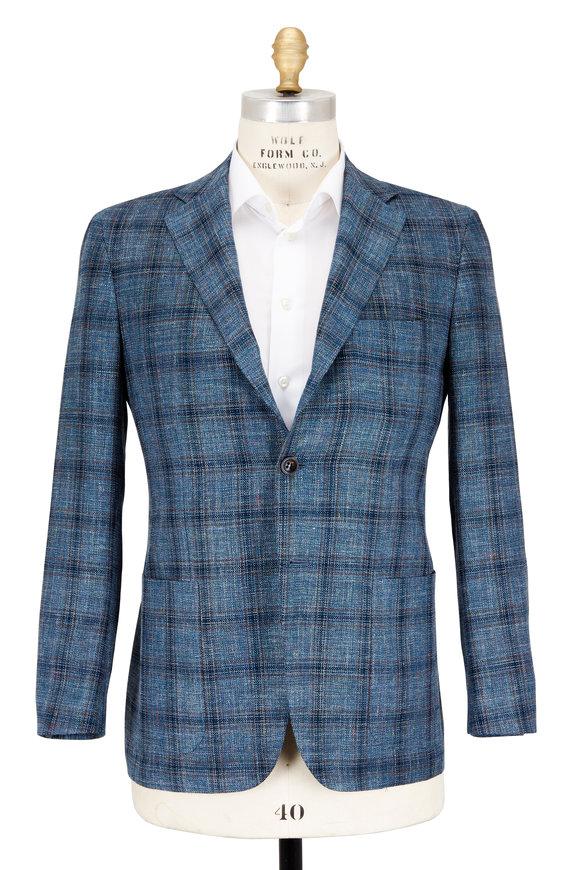 Kiton Teal Cashmere Blend Windowpane Sportcoat