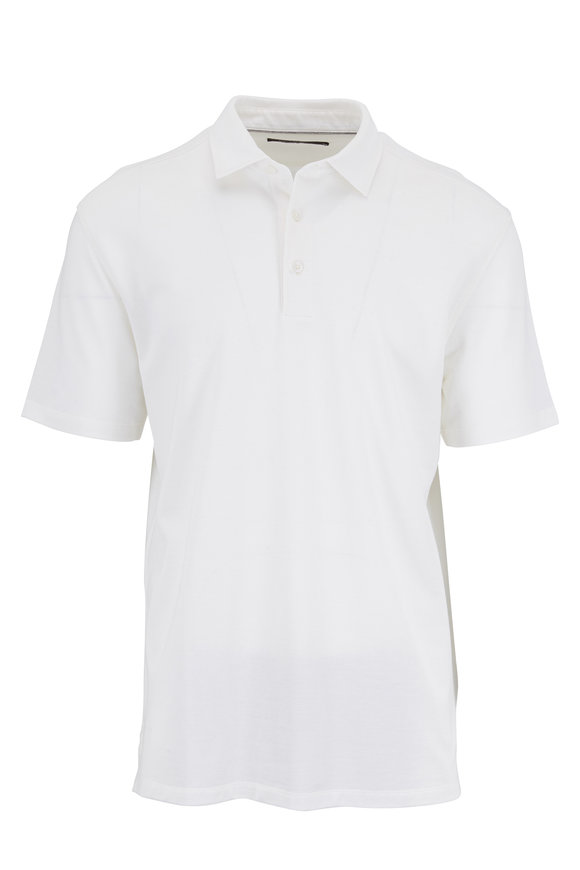 Ermenegildo Zegna White Cotton & Silk Piqué Polo