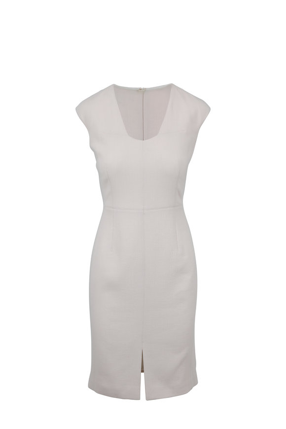 Paule Ka Ecru Stretch Wool Cap Sleeve Fitted Dress