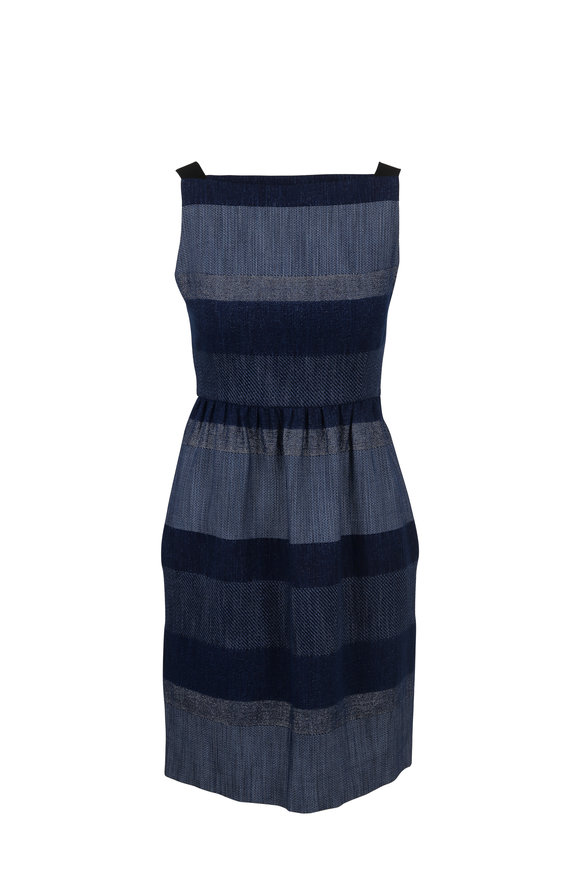 Paule Ka Denim Colorblock Bateau Neck Sleeveless Dress