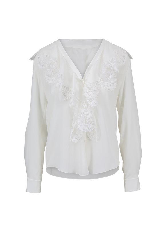 Chloé White Silk & Lace Front Blouse
