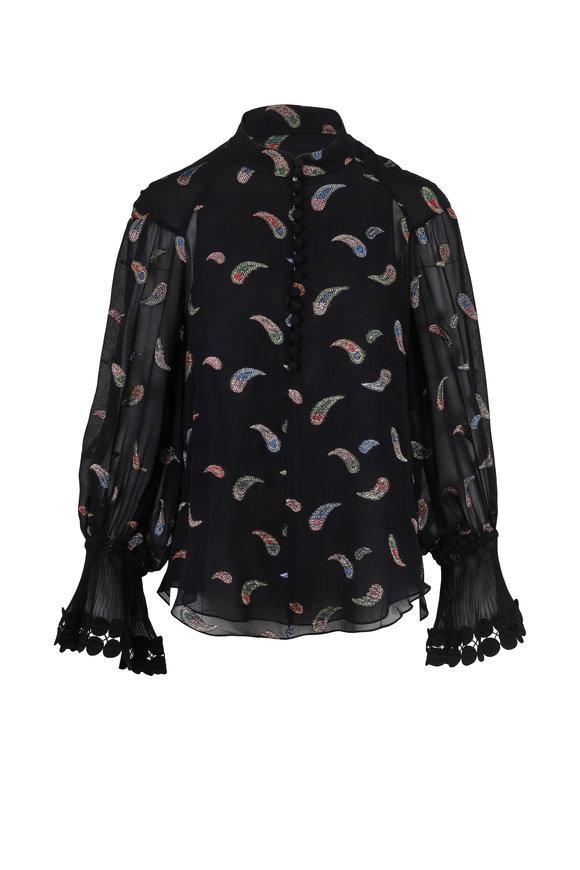 Chloé Black Multicolor Paisley High-Neck Blouse