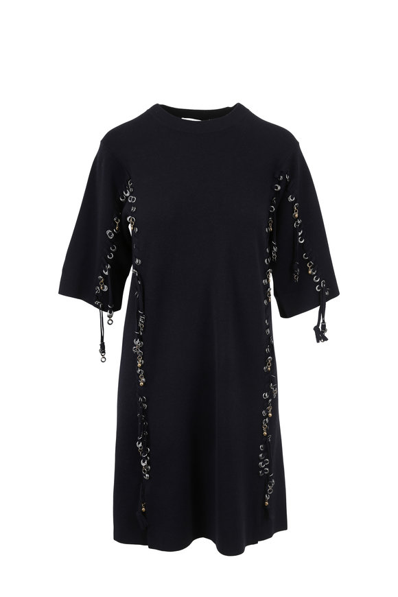 Chloé Iconic Navy Wool Grommet & Lace Dress