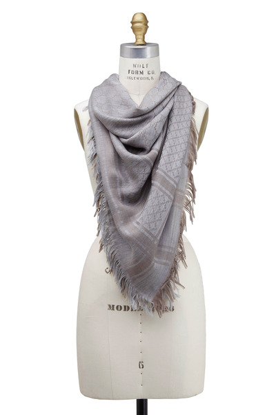 Gucci - Survie Taupe & Light Gray Wool & Silk Scarf