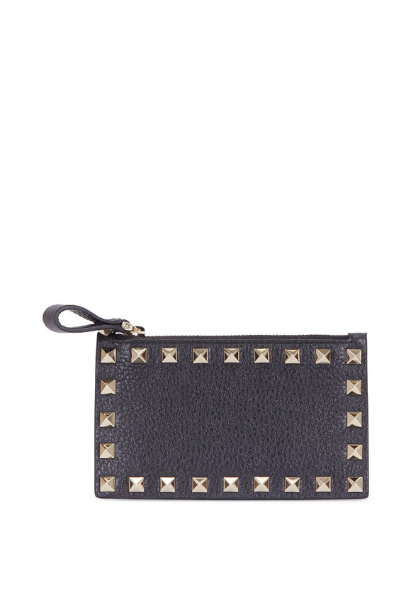 Valentino Rockstud Black Grained Leather French Wallet