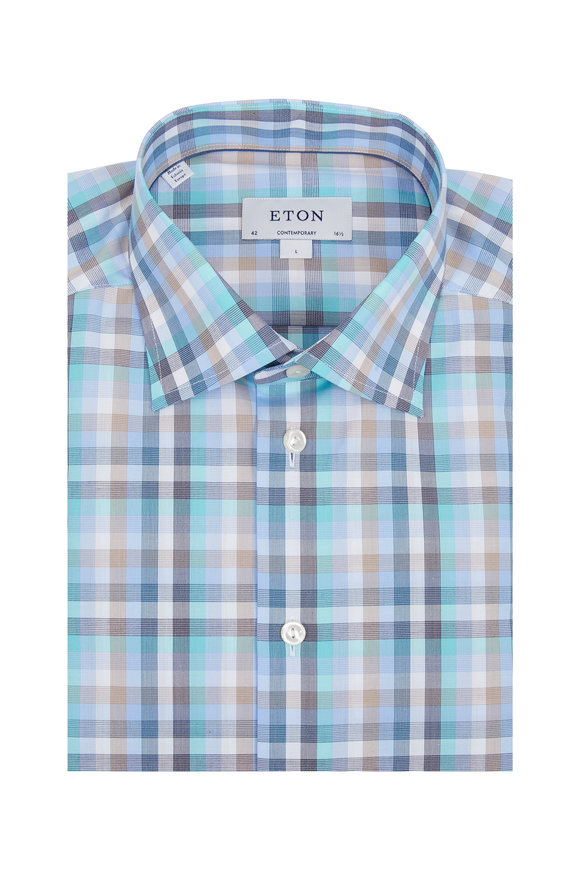 Eton Teal & Tan Plaid Contemporary Fit Sport Shirt