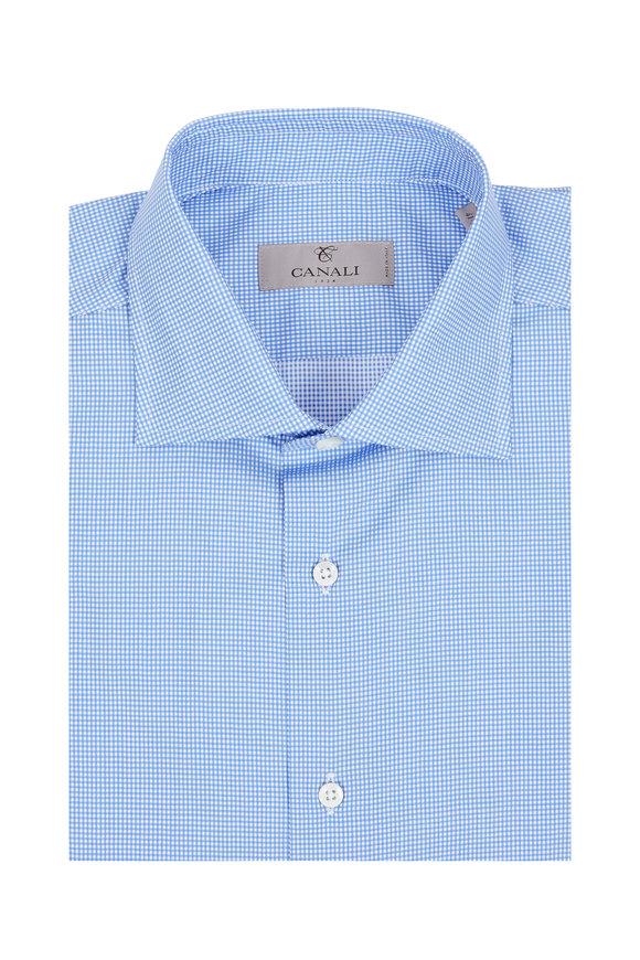 Canali Mini Blue Gingham Dress Shirt