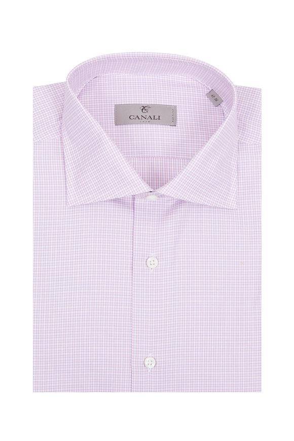 Canali Light Pink Check Dress Shirt