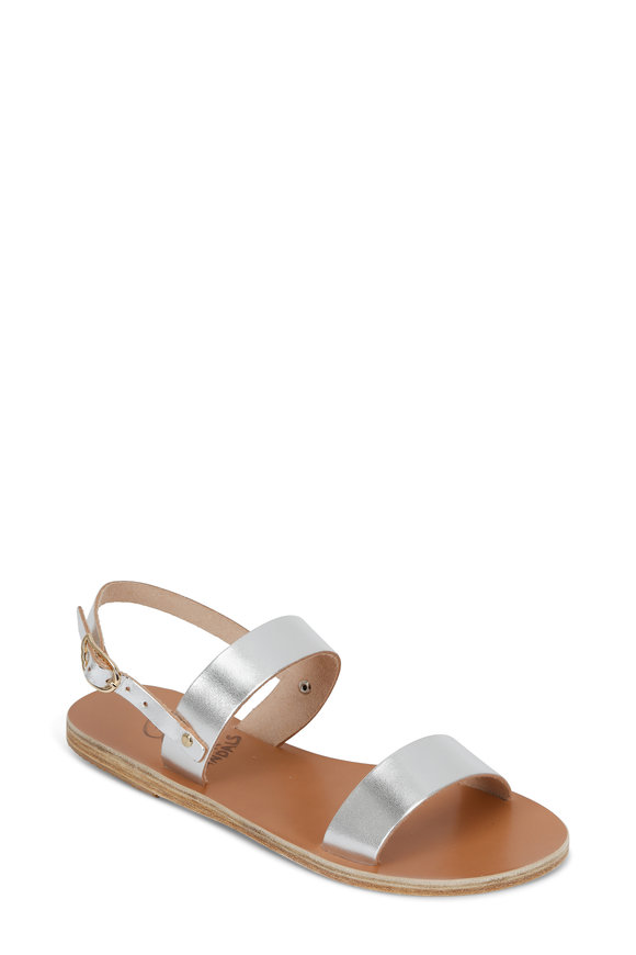 Ancient Greek Sandals Clio Silver Leather Two-Band Sandal