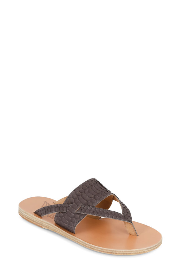 Ancient Greek Sandals Zenobia Taupe Snake Thong Wide Band Sandal