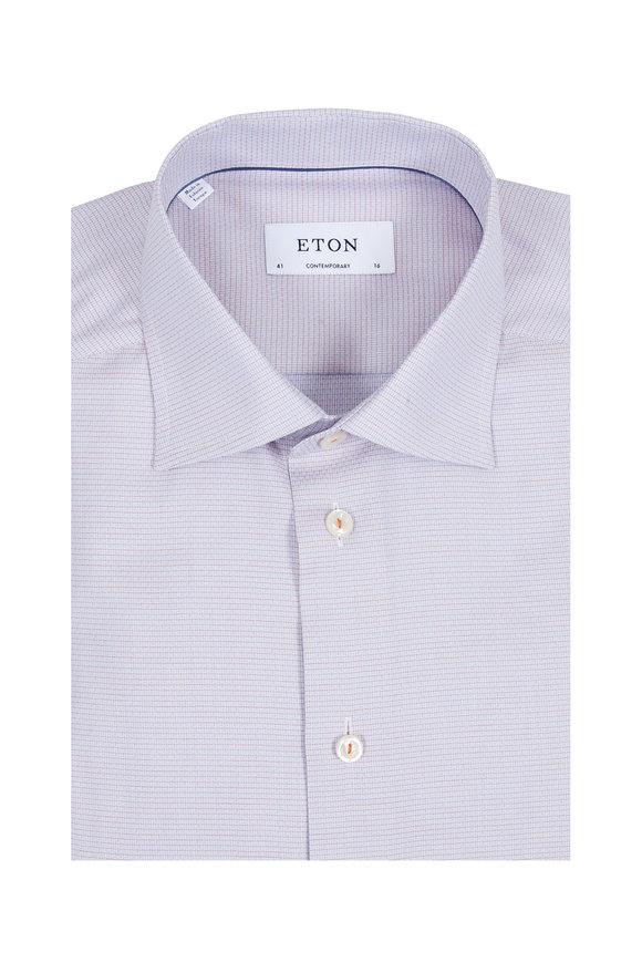 Eton Orange Textured Contemporary Fit Dress Shirt
