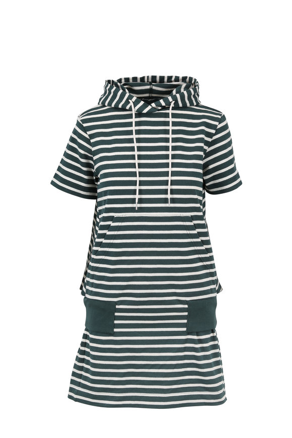 Sacai Green & White Striped Short Sleeve Hoodie Dress