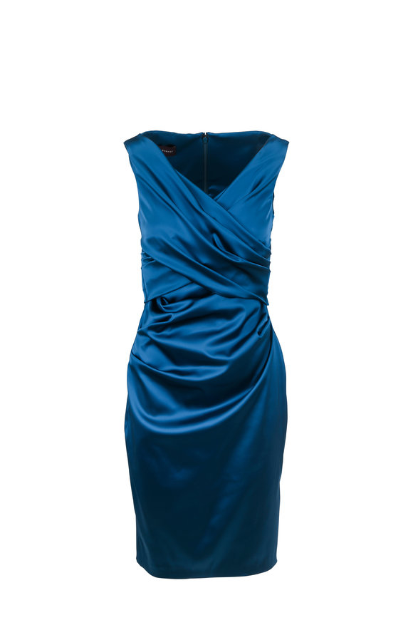 Talbot Runhof Movie7 Teal Ruched Satin Sleeveless Cocktail Dress