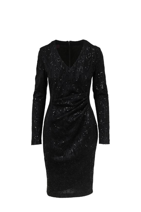Talbot Runhof Posto2 Black Sequin Long Sleeve Dress