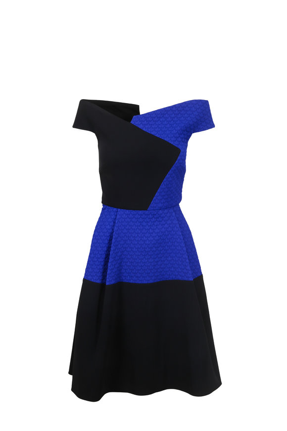 Roland Mouret Averley Black & Blue Fit & Flare Dress
