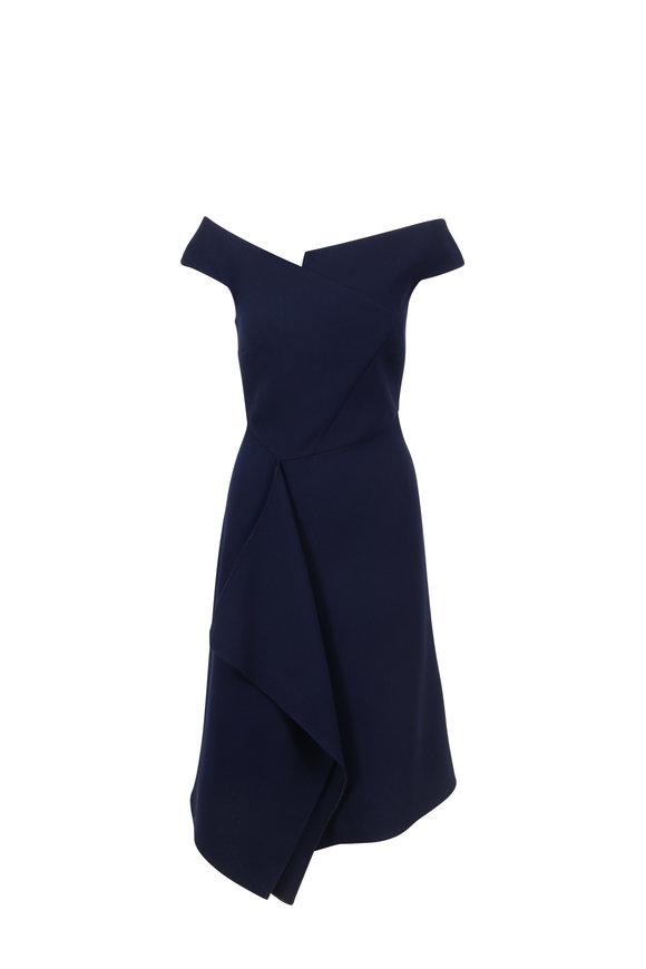 Roland Mouret Barwick Navy Blue Wool Off-The-Shoulder Dress