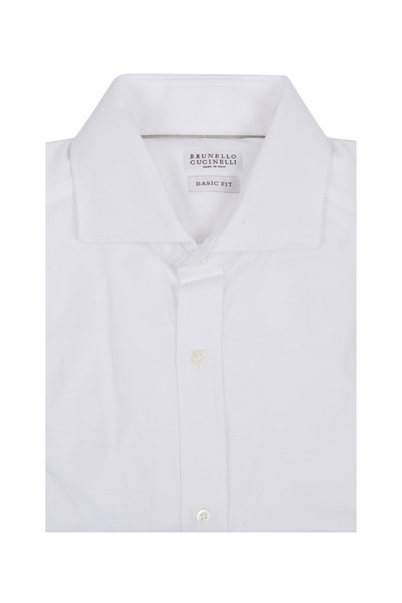 Brunello Cucinelli White Basic Fit Sport Shirt