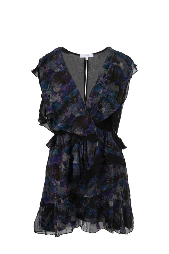 IRO Julia Navy Blue Floral Print Dress