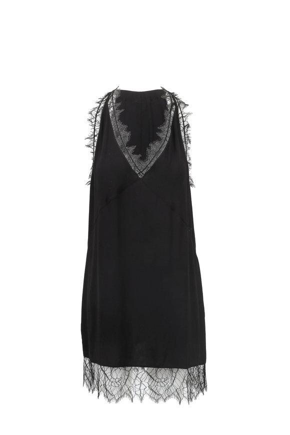 IRO Enzie Black Lace Trim Sleeveless Dress