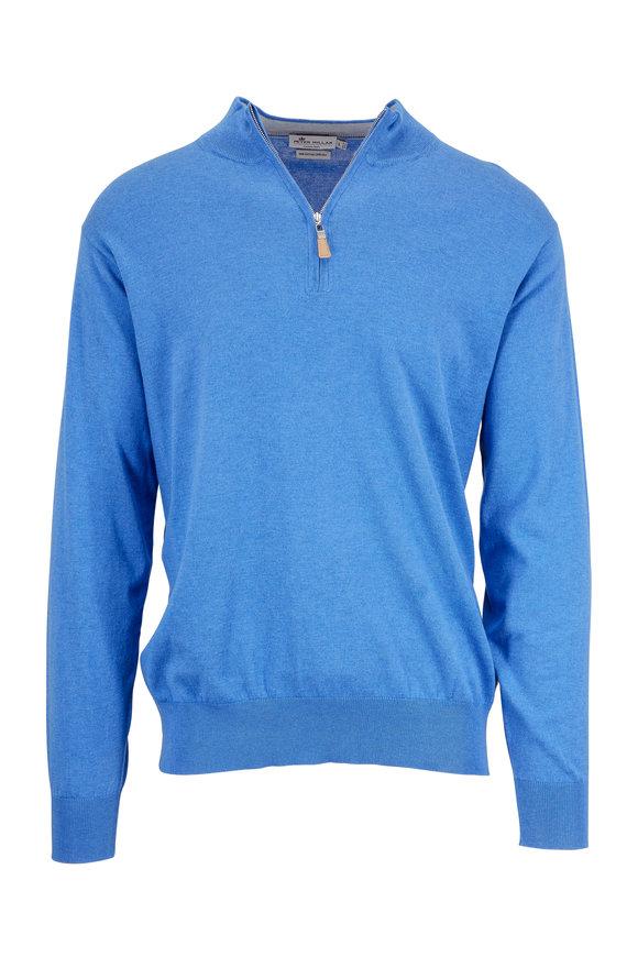 Peter Millar Boardwalk Blue Cotton & Silk Quarter-Zip Sweater