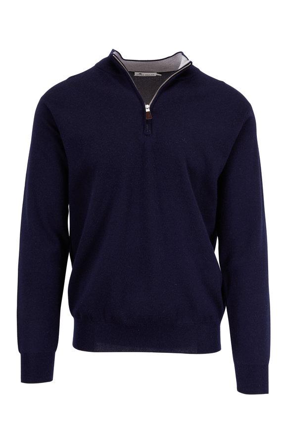 Peter Millar Perfect Navy Cashmere Blend Quarter-Zip Sweater