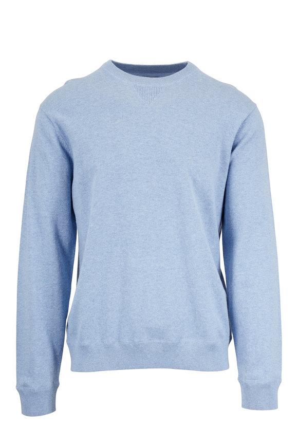 Faherty Brand Sky Blue Cotton & Cashmere Crewneck Sweater