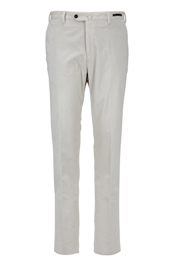 PT01 Off White Cotton Corduroy Stretch Pant