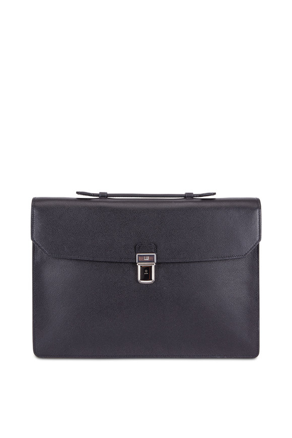 Dunhill Black Grained Leather Flap Briefcase