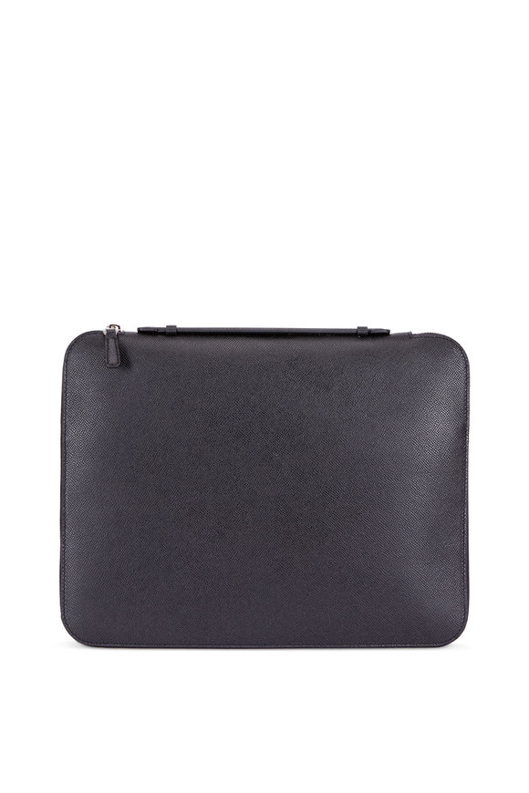 Dunhill Cadoga Black Grained Leather Zip Large Folio