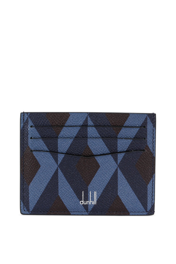 Dunhill Cadogan Engine Turn Slip Navy Blue Card Case