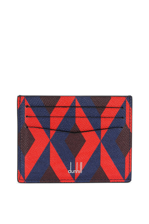 Dunhill Cadogan Engine Turn Slip Red Blue Card Case