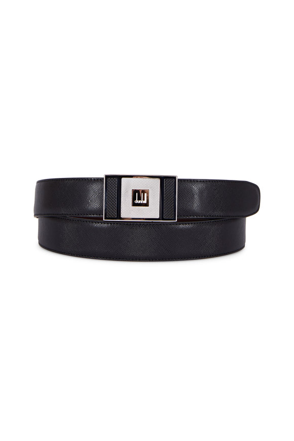 Dunhill Black Leather Silver Logo Buckle Belt