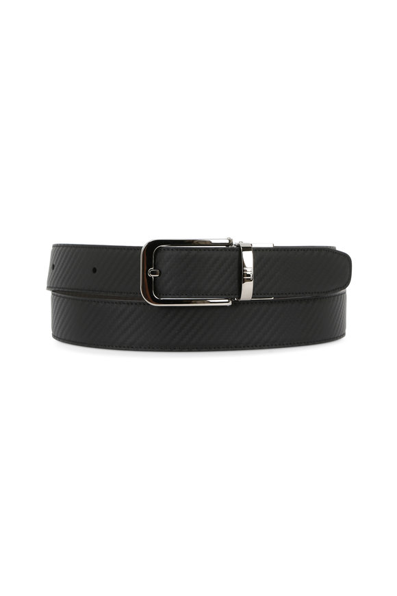 Dunhill Black Tonal Textured Leather Belt