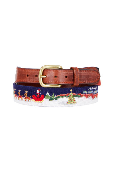 Smathers & Branson - North Pole Scene Needlepoint Belt